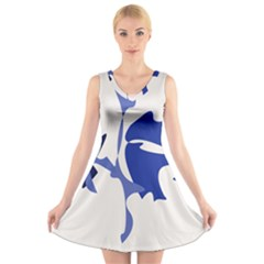 Blue Amoeba Abstract V Neck Sleeveless Skater Dress by Valentinaart