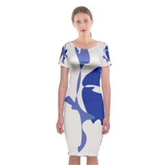 Blue Amoeba Abstract Classic Short Sleeve Midi Dress by Valentinaart