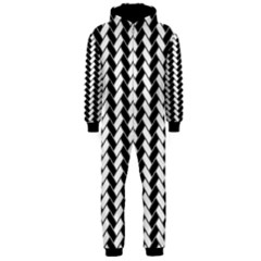 Black And White Herringbone Hooded Jumpsuit (men) by tjustleft
