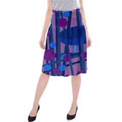 Purple Bird Midi Beach Skirt by Valentinaart