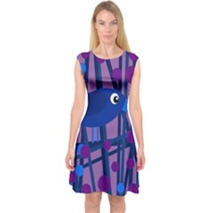 Purple Bird Capsleeve Midi Dress by Valentinaart