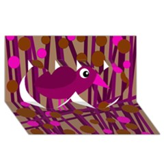 Cute Magenta Bird Twin Hearts 3d Greeting Card (8x4) by Valentinaart