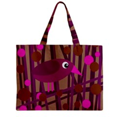 Cute Magenta Bird Zipper Mini Tote Bag by Valentinaart