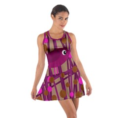 Cute Magenta Bird Cotton Racerback Dress by Valentinaart
