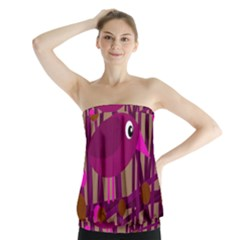 Cute Magenta Bird Strapless Top by Valentinaart