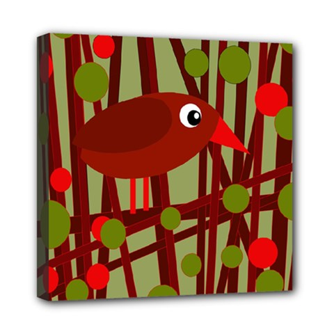 Red Cute Bird Mini Canvas 8  X 8  by Valentinaart