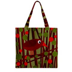 Red Cute Bird Grocery Tote Bag by Valentinaart