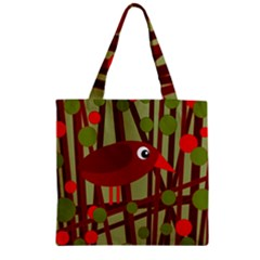 Red Cute Bird Zipper Grocery Tote Bag by Valentinaart