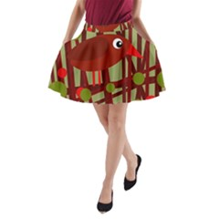 Red Cute Bird A Line Pocket Skirt by Valentinaart