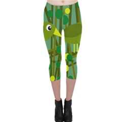Cute Green Bird Capri Leggings  by Valentinaart