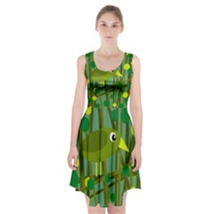 Cute Green Bird Racerback Midi Dress by Valentinaart