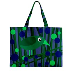 Green And Blue Bird Zipper Mini Tote Bag by Valentinaart