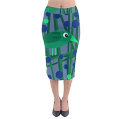 Green And Blue Bird Midi Pencil Skirt by Valentinaart