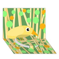 Yellow Little Bird Circle Bottom 3d Greeting Card (7x5)