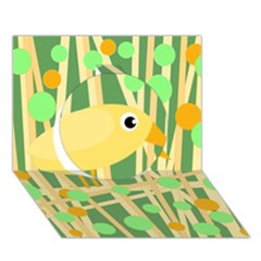 Yellow Little Bird Circle 3d Greeting Card (7x5)