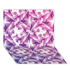 Purple Shatter Geometric Pattern Clover 3d Greeting Card (7x5) by TanyaDraws
