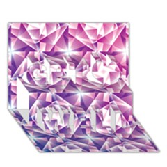 Purple Shatter Geometric Pattern Get Well 3d Greeting Card (7x5) by TanyaDraws