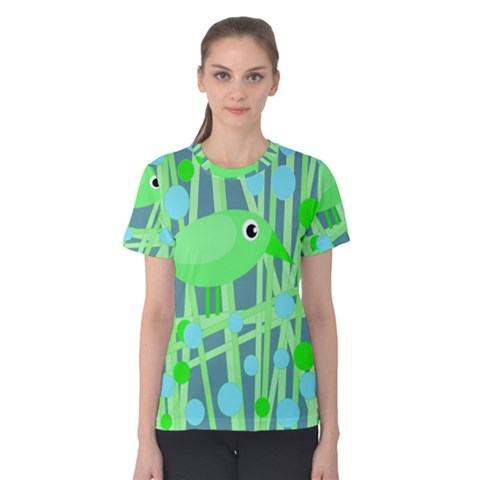 Green Bird Women s Cotton Tee by Valentinaart