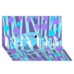 Blue And Purple Bird Best Bro 3d Greeting Card (8x4) by Valentinaart