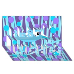 Blue And Purple Bird Best Wish 3d Greeting Card (8x4)