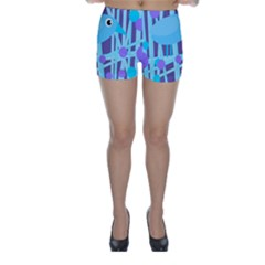 Blue And Purple Bird Skinny Shorts