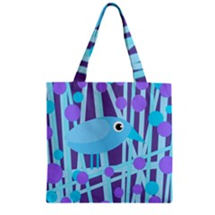 Blue And Purple Bird Zipper Grocery Tote Bag by Valentinaart
