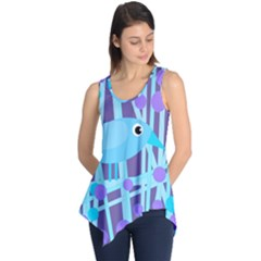 Blue And Purple Bird Sleeveless Tunic
