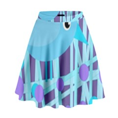 Blue And Purple Bird High Waist Skirt by Valentinaart