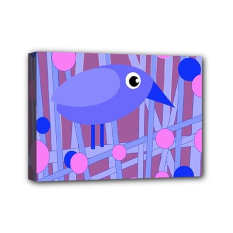 Purple And Blue Bird Mini Canvas 7  X 5  by Valentinaart