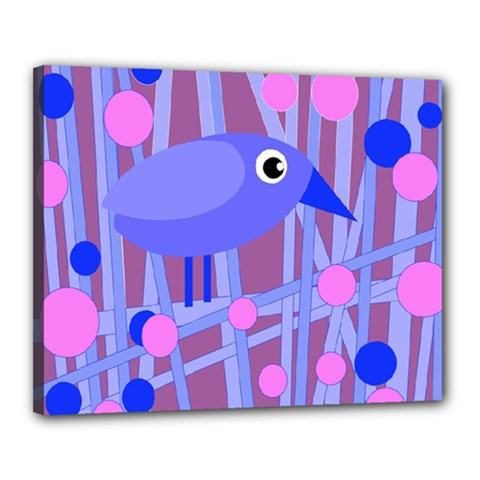 Purple And Blue Bird Canvas 20  X 16  by Valentinaart