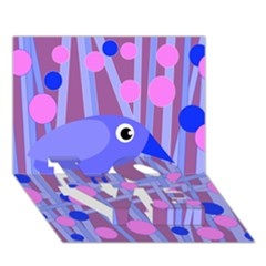 Purple And Blue Bird Love Bottom 3d Greeting Card (7x5) by Valentinaart