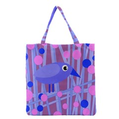 Purple And Blue Bird Grocery Tote Bag by Valentinaart