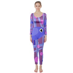 Purple And Blue Bird Long Sleeve Catsuit by Valentinaart
