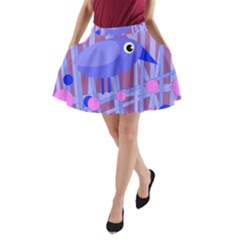 Purple And Blue Bird A Line Pocket Skirt by Valentinaart
