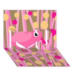 Pink Bird I Love You 3d Greeting Card (7x5) by Valentinaart