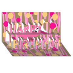 Pink Bird Happy Birthday 3d Greeting Card (8x4) by Valentinaart
