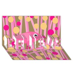 Pink Bird Believe 3d Greeting Card (8x4) by Valentinaart