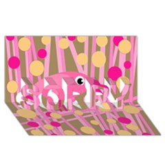 Pink Bird Sorry 3d Greeting Card (8x4) by Valentinaart