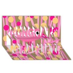 Pink Bird Congrats Graduate 3d Greeting Card (8x4) by Valentinaart