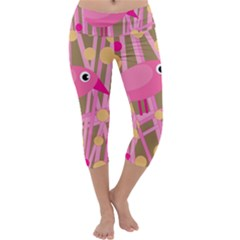 Pink Bird Capri Yoga Leggings