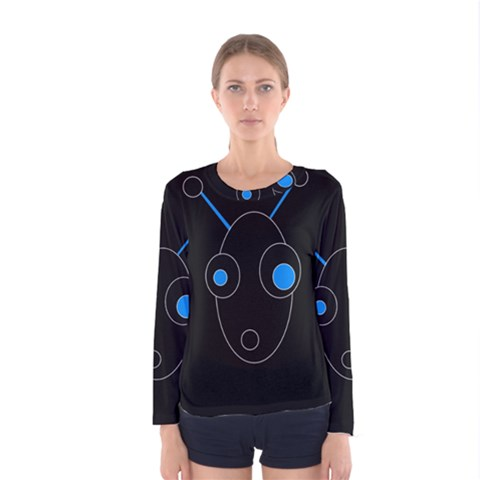Blue Alien Women s Long Sleeve Tee by Valentinaart