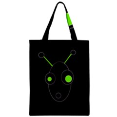 Green Alien Zipper Classic Tote Bag by Valentinaart
