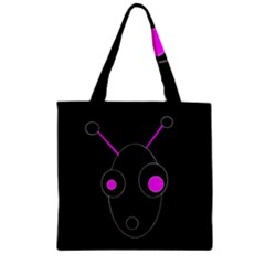 Purple Alien Zipper Grocery Tote Bag by Valentinaart