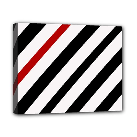 Red, Black And White Lines Canvas 10  X 8  by Valentinaart