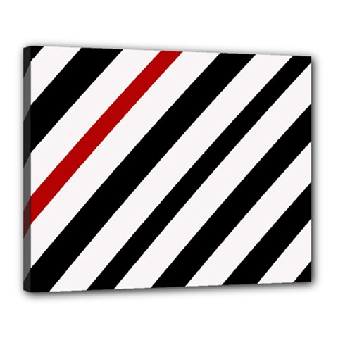 Red, Black And White Lines Canvas 20  X 16  by Valentinaart