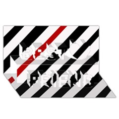 Red, Black And White Lines Best Friends 3d Greeting Card (8x4) by Valentinaart
