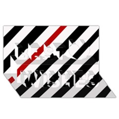 Red, Black And White Lines Best Wish 3d Greeting Card (8x4)