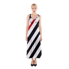 Red, Black And White Lines Sleeveless Maxi Dress by Valentinaart