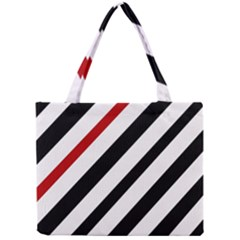 Red, Black And White Lines Mini Tote Bag by Valentinaart