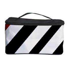 Red, Black And White Lines Cosmetic Storage Case by Valentinaart